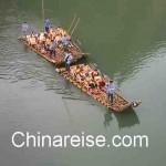 Bambusfloßfahrt auf dem Jiuqu Xi