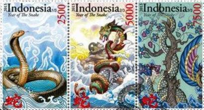 Sondermarke zum Jahr der Schlange, Indonesia