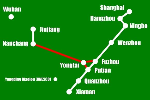Hochgeschwindigkeitsstrecke zwischen Nanchang und Fuzhou