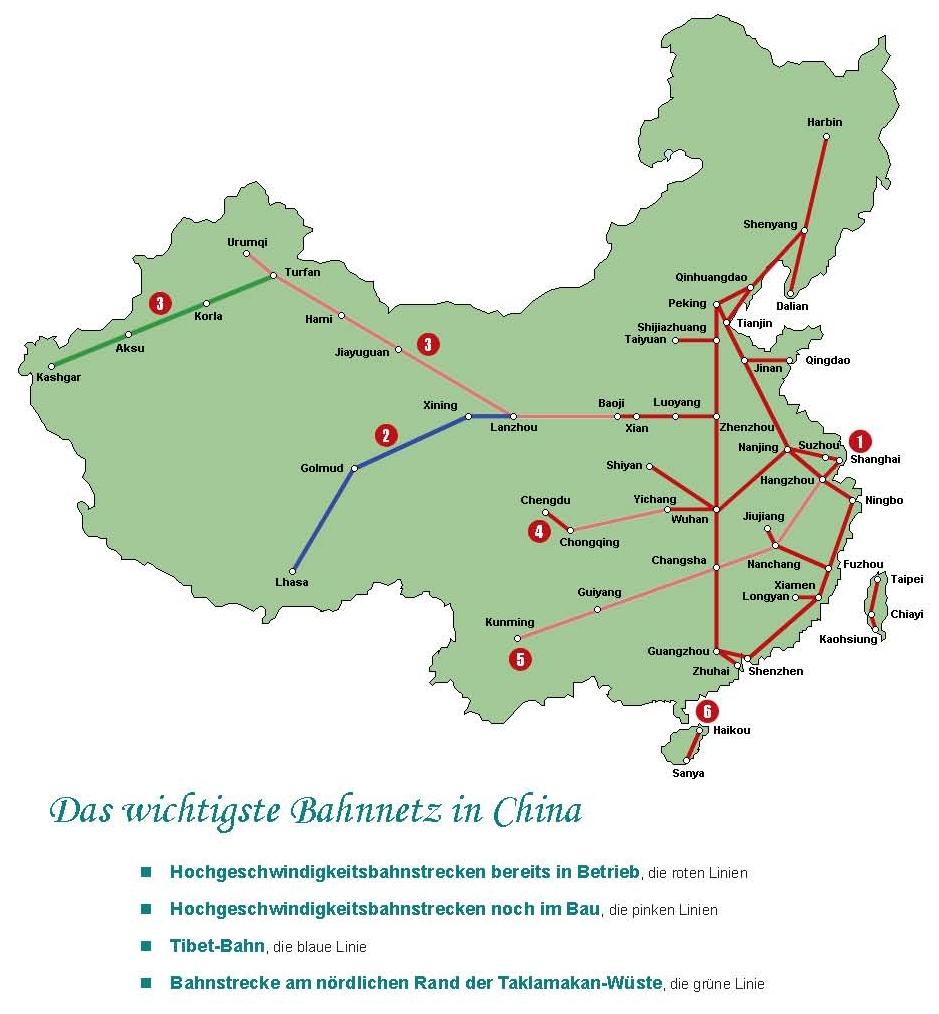Chinas Hochgeschwindigkeitsstrecken