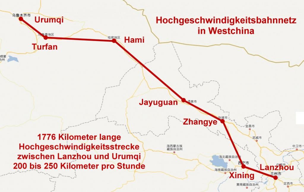 Hochgeschwindigkeitsstrecke von Lanzhou nach Urumqi