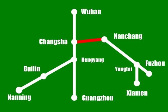 Hochgeschwindigkeitsstrecke zwischen Changsha und Nanchang