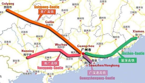 Hochgeschwindigkeitsstrecke mit Guangzhou in Südchina