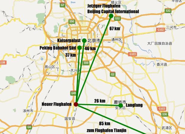 Neuer Flughafen Peking in Daxing südlich der Innenstadt