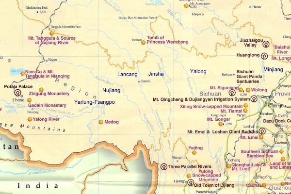 Bekannte Flüsse auf der Sichuan-Tibet-Route G318