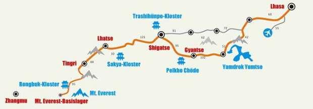 Von Lhasa zum Mt. Everest-Basislager